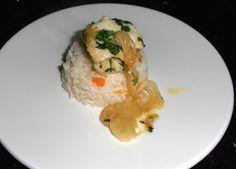 ♥ Mimos de Mãe ♥: Filetes de Peixe Espada Preto com arroz de cenoura... Chocolate, Risotto, Grains, Ethnic Recipes, Food, Black, Swords, Ethnic Food, Pintura