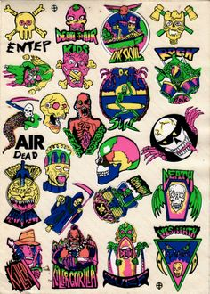"""decadentiacoprofaga:  Awesome stickers I bought to the finest local manufacturer. They come from an old stock, probably from the late 80s or early 90s. The colors are very bright.My personal favorite is""""Horror Monster! Blood Blood""""Hey J1m, check this!! Choose one!zombiesenelghetto-2"""