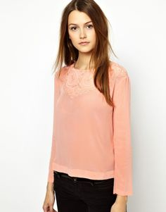 Vanessa Bruno Athé | Vanessa Bruno Athé Blouse in Silk with Quilted Panel at Neck at ASOS