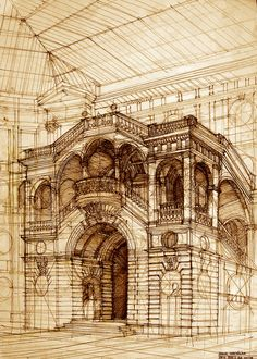 architectural sketches by Maja Wrońska, via Behance
