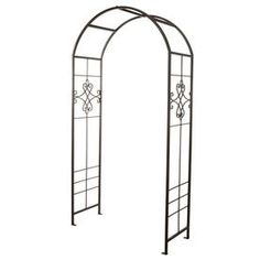 W x H Black Garden Arbor at Lowe's. Create an elegant entry to your backyard or garden with the Quatrefail garden arbor. Placing an arbor in your yard separates it from the rest of you Garden Arbor, Lawn And Garden, Metal Arbor, Metal Trellis, Metal Pergola, Climbing Vines, Black Garden, Roof Styles, Scroll Design