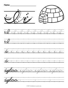Help kids learn how to write both an uppercase and a lowercase cursive letter i with this fun handwriting worksheet featuring an igloo. Cursive Writing Practice Sheets, Teaching Cursive, Cursive Handwriting Practice, Cursive Writing Worksheets, Improve Your Handwriting, Handwriting Analysis, Writing Cursive, School Worksheets, Lyrics