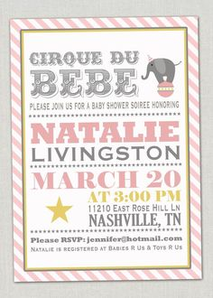 carnival baby shower | Baby Shower Invitation Pink Circus by announcingyou on Etsy