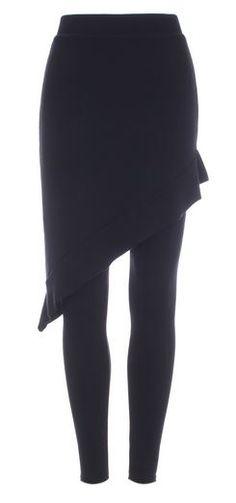 Love these Leggings! Black Leggings with Asymmetric Ruffle Skirt Leather Leggings, Black Leggings, Mode Style, Style Me, Woolen Dresses, Disco Pants, Dress And Heels, Sexy Heels, Ruffle Skirt