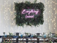 """""""Everything I Need"""" K&A- Trinity Buoy Wharf. I created a foliage background … """"Everything I Need"""" K&A- Trinity Buoy Wharf. I created a foliage background for their bespoke neon sign which was hung behind the top… Wedding Table, Our Wedding, Dream Wedding, Perfect Wedding, Marriage Reception, Botanical Wedding, Wedding Signage, Industrial Wedding, Neon Lighting"""