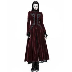 Classic Gothic style red velvet zippered high neck long jacket-coat with ornamental lace embroideries, bell sleeves puffed at the shoulders and extra wide hem. Angel Outfit, Witch Outfit, Punk Dress, Gothic Dress, Vampire Fashion, Gothic Fashion, Gothic Mode, Gothic Lolita, Victorian Gothic