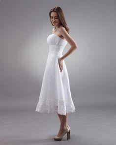 Strapless Tea Length Lace Mini Bridal Gown Wedding Dress  A-line/Princess,Tea Length,Empire,Strapless,Sleeveless,Lace,Zipper,Chiffon,Beach/Destination,Garden/Outdoor,Hall,Spring,Summer,Fall,