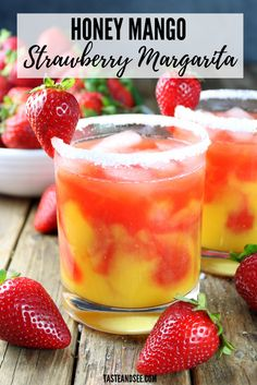 The Honey Mango Strawberry Margarita - it's fresh, fruity, boozy and delicious! The perfect cocktail for Taco Tuesday, Cinco de Mayo or anytime you want something tasty and refreshing. Slushy Alcohol Drinks, Tequila Mixed Drinks, Drinks Alcohol Recipes, Yummy Drinks, Alcoholic Desserts, Punch Recipes, Drink Recipes, Dessert Recipes, Margaritas
