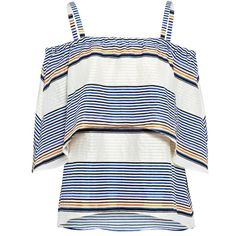 Sunset Stripe Lone Textured Top ($475) ❤ liked on Polyvore featuring tops, boho tops, white tops, bohemian style tops, textured top and boho style tops