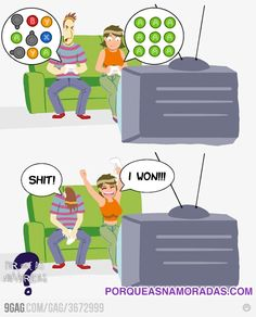 That is so me...I use one button that works for me while Adam tries all those fancy combinations...I love winning :)