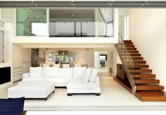 nice home designs : Amazing Interior For Home Design Ideas With White Sofa Set And Wooden Stairs Also White Floor