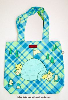 igloo animals tote bag by boygirlparty at http://shop.boygirlparty.com #cute #tote #bag