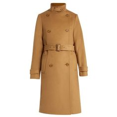 Vince Wool And Cashmere Blend Trench Coat ($695) ❤ liked on Polyvore featuring outerwear, coats, brown trench coat, woolen trench coat, wool coat, vince coat and trench coat