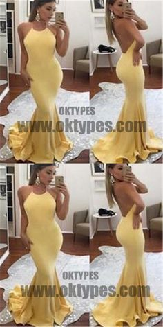 Yellow Halter Sleeveless Backless Prom Dress, Sexy Mermaid Floor Length Prom Dress, Prom Dresses, TYP0318 #promdresses