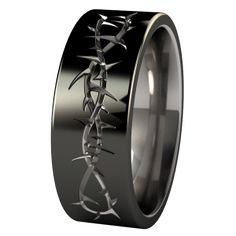Makes me think of the crown of thorns - like that it's in black. Taboo Black Diamond Plated Titanium Wedding Ring (they also have a celtic design or two) Wedding Rings Simple, Custom Wedding Rings, Quirky Wedding, Trendy Wedding, Wedding Bands, Wedding Ideas, Zeina, Titanium Wedding Rings, Titanium Rings For Men