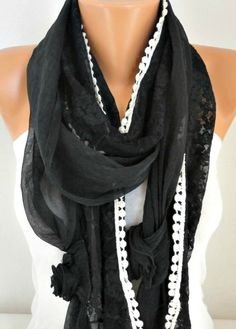 Black Scarf Lace Scarf Shawl Cowl Scarf Gift Ideas por fatwoman
