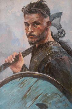 For a friend Oil Vikings Show, Vikings Game, Norse Vikings, Illustrations, Illustration Art, Ragnar Lothbrok Vikings, King Ragnar, Viking Culture, Fantasy Portraits