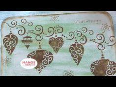 Individuales Navideños - Sellos y Stencils - Pintar madera - - YouTube
