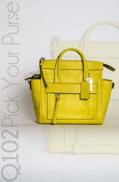 Coach - Bleeker Mini Riley Carryall in Acid Green Leather.  Go to wkrq.com to find out how to play Q102's Pick Your Purse!