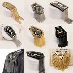 Epaulette spikes brooches new 2015 handmade punk jewelry men blazer accessories wholesale/scapular/epaulets/shoulder/bijuterias-inBrooches from Jewelr Mens Suit Accessories, Jewelry Accessories, Fashion Accessories, Fashion Jewelry, Gold Fashion, Fashion Details, Mens Fashion, Cheap Fashion, Punk Jewelry