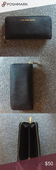 Michael lots black leather wallet Micheal kors black leather wallet Michael Kors Bags Wallets