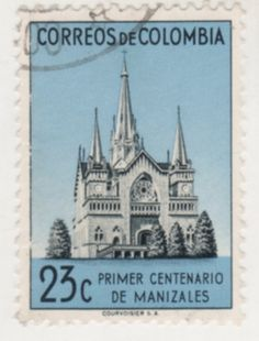 Cathedral of Manizales Centenario, Postage Stamps, South America, Ephemera, Cathedral, Wildlife, Letters, My Favorite Things, City