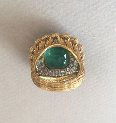 Buccellati Emerald Diamond 18KT Gold Cocktail Ring image 5