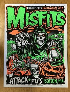 Original silkscreen concert poster for The Misfits at The Wilbur Theatre in Boston, MA in 2013. 17 x 23 inches. Signed and numbered out of 150 by the artist Mike C.