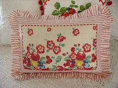 Sweet Cottage Dreams: Vintage Textiles - Display and Repurposing, pillow with vintage towel inset