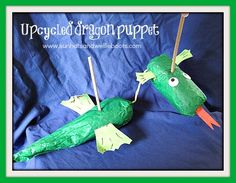 Sun Hats & Wellie Boots: Upcycled Dragon Puppet - Ideal for Storytelling & Imaginative Play Kids Crafts, Animal Crafts For Kids, Diy Craft Projects, Craft Ideas, Outdoor Activities For Kids, Craft Activities, Puppet Tutorial, Dragon Puppet, Imagination Tree