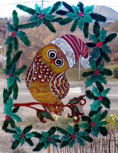 dtails sur wicoart window color sticker static cling noel christmas doodle owl chouette 2 - Windows Color Noel