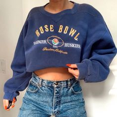 Casual Printed Navy Blue Sweatshirts – aromiya Cute Lazy Outfits, Retro Outfits, Trendy Outfits, Fashion Outfits, Aesthetic Clothes, My Style, Casual, Retro Sweatshirts, Hoodies