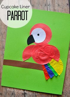 Children will love making a Cupcake Liner Parrot Kids Craft. Great craft after learning about birds or the rain forest. Children will love making a Cupcake Liner Parrot Kids Craft. Great craft after learning about birds or the rain forest. Rainforest Crafts, Jungle Crafts, Vbs Crafts, Daycare Crafts, Bird Crafts, Classroom Crafts, Camping Crafts, Animal Crafts, Toddler Crafts