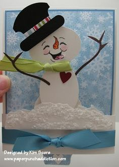 snowman punch art sliding pop up tutorial designed by Kim Score Paper Punch Art, Punch Art Cards, Scrapbook Paper Crafts, Scrapbooking, Paper Crafting, Peachy Keen Stamps, Xmas Cards, Diy Cards, Snowman Cards