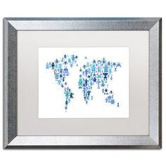 Trademark Fine Art 'Robot Map of the World Blue' Canvas Art by Michael Tompsett, White Matte, Silver Frame, Blue