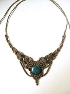 macrame necklace tiara with chrysocolla by AbstractikaCrafts, £25.00