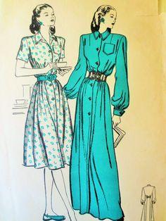 Vintage Butterick 3895 Sewing Pattern, 1940s Dress Pattern, Housecoat Pattern, Bust 34, Vintage Sewing, 1940s Sewing Pattern, House Dress by sewbettyanddot on Etsy