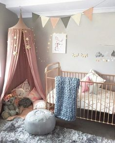 Baby nursery, girl nursery colors, baby room colors, blush nursery, p Baby Bedroom, Baby Room Decor, Girls Bedroom, Nursery Decor, Nursery Ideas, Room Baby, Baby Room Grey, Nursery Bunting, Kids Bedroom Ideas