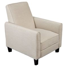 A handsome addition to your living room or parlor seating group, this eye-catching recliner showcases tapered legs and grey upholstery.