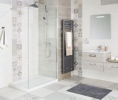 Paroi de douche droite 120 cm Concerto - La salle de bains Cedeo Mosaic Bathroom, Bathroom Tile Designs, Bathroom Interior Design, Interior Design Living Room, Small Toilet Room, Small Bathroom, Bathroom Styling, Beautiful Bathrooms, Bathroom Inspiration