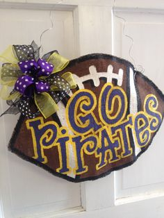 ECU Burlap Football Door Hanger
