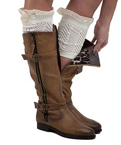 Ivory Button & Lace Boot Cuffs #zulily *so cute