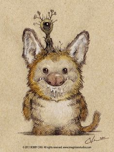 Canadian illustrator Bobby Chiu drew these great pencil drawings of cute monster animal babies, which look like amalgamations of various real world creatures in Little Monsters, Cute Monsters, Monster Drawing, Monster Art, Monster Illustration, Cute Illustration, Dibujos Cute, Fantasy Monster, Illustrations