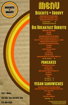 """Biscuits + Groovy menu1  -- for the """"try a new food trailer"""" bucket list item"""