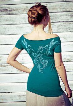 Women's Dark Aqua Bamboo Tee, Original art of Swallows on the back by Shovava at etsy.com, $54 !!