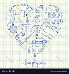 I love physics doodles in heart Vector Image by kytalpa