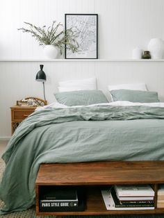 We've long been admirers of Caitlin Hayden's work (aka Her style is relaxed, minimal and really fresh. The perfect creative to make some magic with our Sage linen 💚 Cozy Bedroom, Bedroom Decor, Bedroom Signs, Decorating Bedrooms, Bedroom Apartment, Bedroom Ideas, Home Interior, Interior Design, My New Room