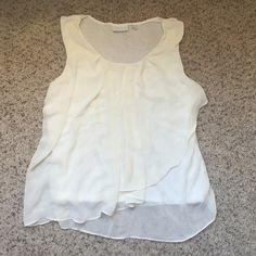 White tank Back of shirt is cotton, and front is flowy material, really flattering! New York & Company Tops Tank Tops