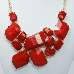 High Quality Gold Tone Statement Necklace Red by BellaJewelry