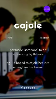 persuade (someone) to do somehting by flattery eg. He hoped to cajole her into selling him her house. Interesting English Words, Learn English Words, English Phrases, English Language, Big Words, Words To Use, Good Vocabulary Words, Advanced English Vocabulary, Idioms And Phrases